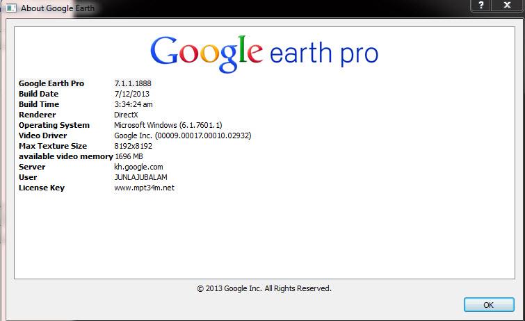 google earth pro 7.1 license key